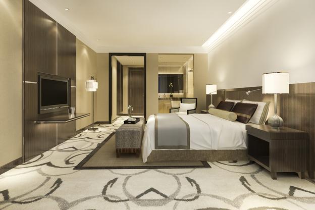 carpete para quarto instalado em suíte de casal