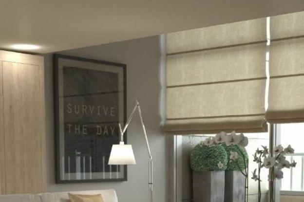 cortina romana em sala sofisticada